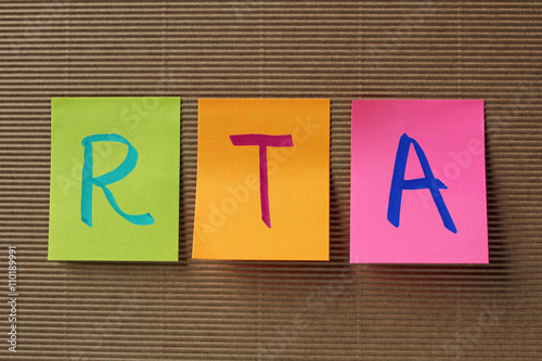 RTA (Renal Tubular Acidosis) acronym on colorful sticky notes Canvas Print