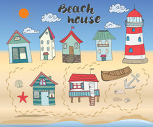 Beach Huts And Bungalows, Hand...