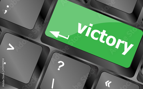 Computer Keyboard With Victory Key Keys Icon Button Vector