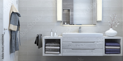Foto  Modern interior design of bathroom (3d Render)
