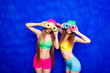 Leinwanddruck Bild - Two funny girls holding donuts against eyes and smiling