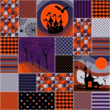 Bright Seamless Patchwork Background With Different Patterns. Beautiful Illustration For Halloween Holiday.