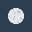 Moon, Flat design illustration