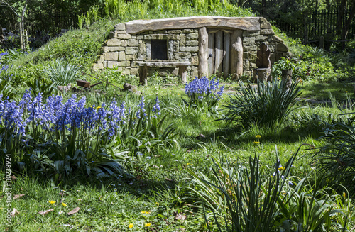 Photo  In Bluebell Wood there is a Hobbit home