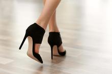 Woman Wearing Black High Heels.