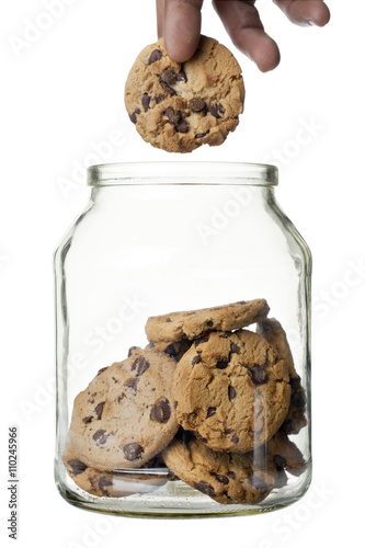 chocolate chip cookies with glass jar Poster Mural XXL