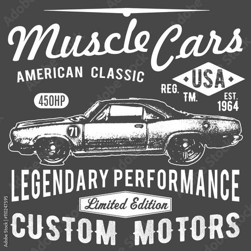 Projekt typografii koszulki, wektor retro samochodów, grafika drukarska, ilustracji wektorowych typograficzne, projekt graficzny samochód starodawny na etykiecie lub drukowanie t-shirt, odznaka, aplikacja