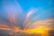 Fiery orange sunset sky. Beautiful sky. soft focus