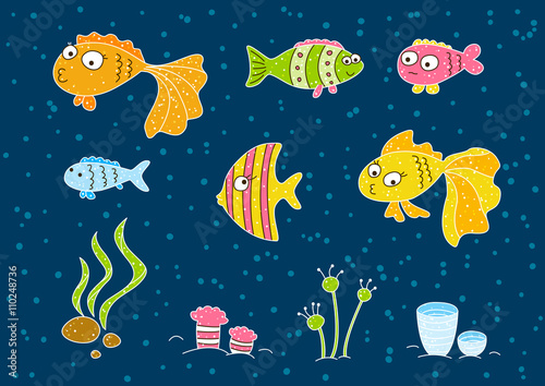 Aluminium Prints Submarine Cute cartoon fishes isolated on white