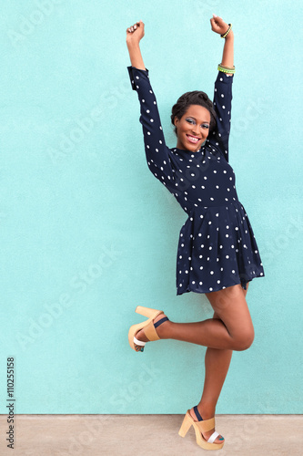 Fotografie, Obraz  Happy Excited African American Woman In Summer Dress