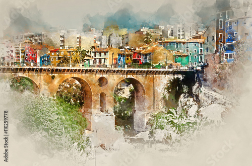 Digital watercolor painting of Villajoyosa town. Spain