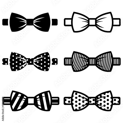 Canvastavla Vector black bow ties icons set