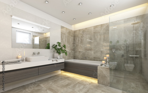 Valokuva  Bright Bathroom In Grey With Candels