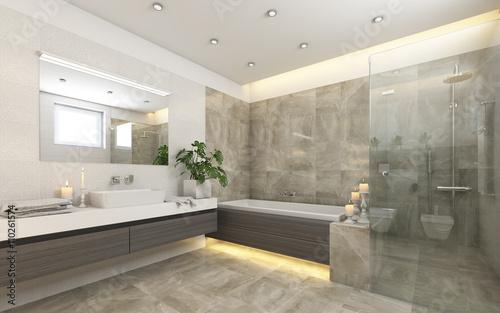 Fotografia, Obraz  Bright Bathroom In Grey With Candels