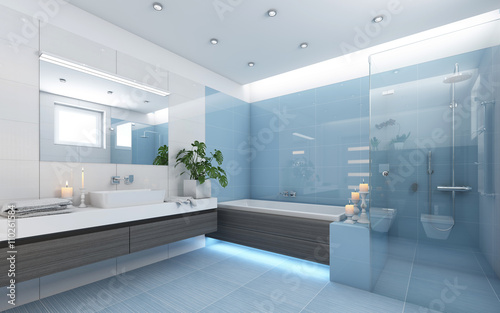 Foto  Bright Bathroom In Blue
