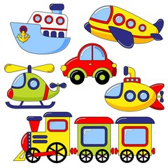 Naklejka Set of cartoon transport icon. Car, submarine, ship, plane, train, helicopter