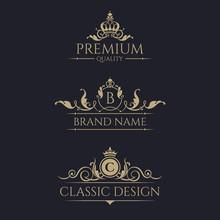 Monogram With Crown. Premium Borders Set.