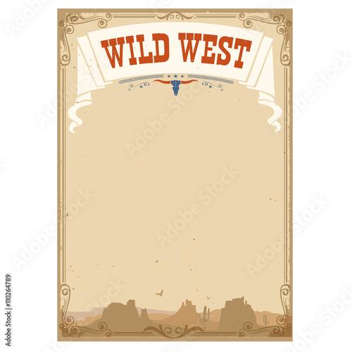 Fototapeta Wild west background for text.Vector illustration obraz