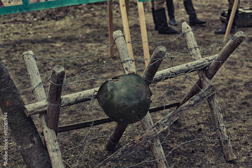 Fotografia  Reconstruction of life and subjects of second world war, anti-tank barrier and h