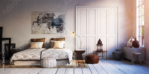 Wall Murals Retro panorama view inside vintage loft bedroom apartment - blick in alte retro design loft wohnung