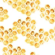Watercolor Honeycombs Seamless Pattern