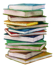 Watercolor Stack Of Books