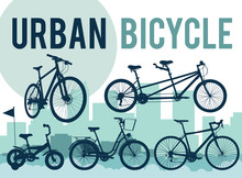 Set Of Silhouettes Of Bicycles On The City Skyline. Vector Illus