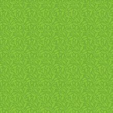 Seamless Pattern Of Stylized Leaves In Green And Olive Colors