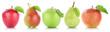 canvas print picture - Apfel Frucht Birne Birnen Äpfel Früchte Obst in einer Reihe Fr
