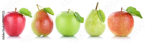 Foto op Plexiglas Vruchten Apfel Frucht Birne Birnen Äpfel Früchte Obst in einer Reihe Fr