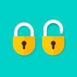 Lock open and lock closed vector icons isolated on blue background, yellow padlocks shapes illustration, flat cartoon locks set design
