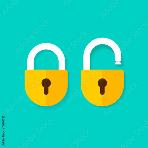 Lock open and lock closed vector icons isolated on blue background, yellow padlocks shapes illustration, flat cartoon locks set design Wall mural