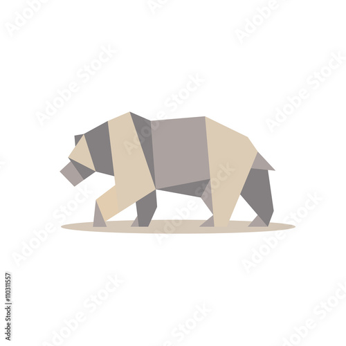 фотография  Brown bear in polygon style design on the low poly quality of modern flat logo i