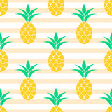Summer pastel pineapple seamless design. Pattern for bed linen and apparel. Ananas yellow and cream stripes fun pattern. - 110313384