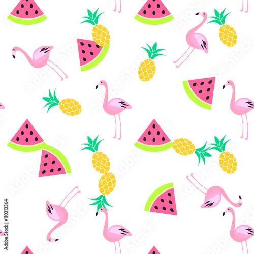 Naklejka premium Lato bez szwu wzór tropiku z arbuza, flaminga i ananasy. Różowy i żółty wzór zabawy.