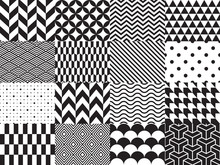 Set Of Geometric Background. Seamless Pattern. Vector Illustration, Black And White