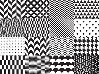 Panel Szklany PodświetlaneSet of geometric background. Seamless pattern. Vector illustration, black and white