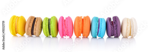 In de dag Macarons colourful french macaroons or macaron on white background