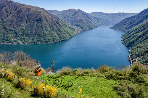 Lago di Como (Lake Como) scenic view with cable car between Argegno and Pigra Wallpaper Mural
