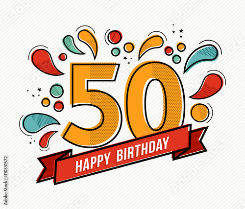 Valokuva  Colorful happy birthday number 50 flat line design
