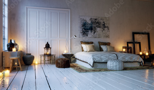 Old Loft Apartment Bedroom Lid By Candle Lights Schlafzimmer In
