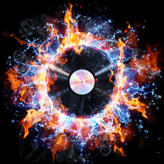 FototapetaVinyl Record With Fire And Water - Creative Rock And Roll