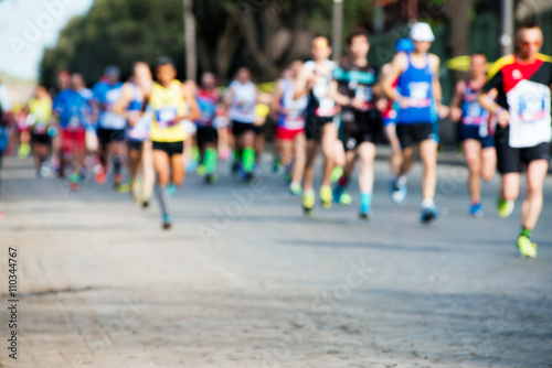 Fotografía  group of marathon runners, abstract blurry picture