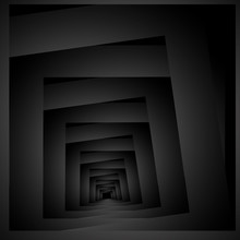 Optical Illusion In Fractal Receding Into The Distance Or Decreasing Intertwined Squares.