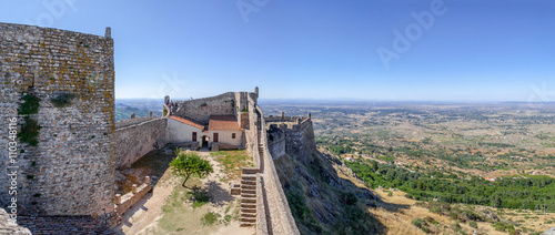 Marvao Castle bailey and keep with a view of the Alto Alentejo landscape фототапет