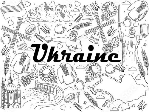 In de dag Boho Stijl Ukraine coloring book vector illustration