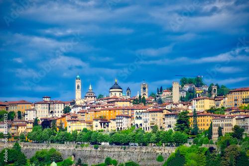 Photo  bergamo view high with Venetian walls...