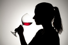 Silhouette Of A Girl Drinking ...