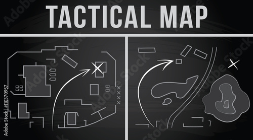 Fotografía  Tactical map of the fighting. Vector illustration