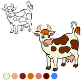 Coloring page. Color me: cow.  Cute spotted cow stands and smile